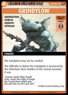 """Pathfinder Adventure Card Game: Rise of the Runelords – """"Grindylow"""" Promo Card"""