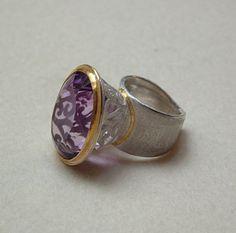 Silke Knetsch (DE) ring - Silver, gold, Amethyst