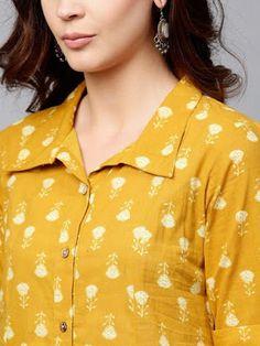 Women Mustard Yellow Printed A-Line Kurta Chudidhar Neck Designs, Neck Designs For Suits, Tunic Designs, Dress Neck Designs, Stylish Dress Designs, Designs For Dresses, Collar Kurti Design, Kurti Sleeves Design, Kurta Neck Design