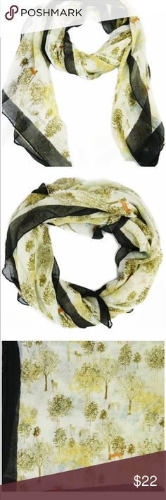 Deer and Tree Print Scarf with Black Edges Color: multiple - beige, green, brown, black;  Dimensions:  39 x 78;  100% polyester;  deer and tree Print D&Y Accessories Scarves & Wraps