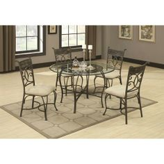 Local Furniture Outlet - 120830 5 Piece Glass Dining Table
