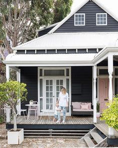 Front porch chillin' & baby cuddlin' - does it get any better? Cottage Exterior, House Paint Exterior, Exterior House Colors, Exterior Design, Black Exterior, Weatherboard Exterior, Facade House, House Exteriors, Girl House