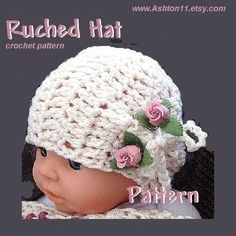 INSTANT DOWNLOAD Crochet Pattern PDF. 63. Ruched Hat by ashton11, $4.99