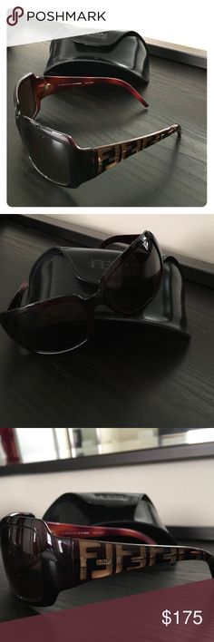 Fendi sunglasses Fendi sunglasses with signature logo on temples. Big, Square fit. Gently loved. Comes with case and logo cleaning cloth. Fendi Accessories Sunglasses