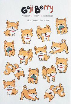 Shiba Inu Pups Sheet of 15 stickers Etsy Kawaii Stickers, Cute Stickers, Kawaii Drawings, Cute Drawings, Cute Animal Drawings Kawaii, Chibi Dog, Cute Dog Drawing, Cartoon Dog Drawing, Cute Dog Cartoon