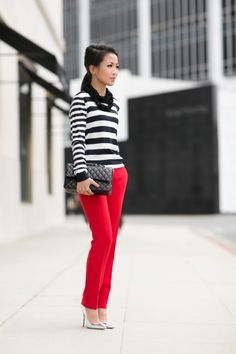 057e7d0a57e9 Black  amp  White Stripes with a pop of red  amp  dont forget the black