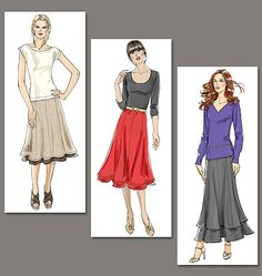 Misses' Skirt - Very Easy Vogue - I wonder if I could make this a reversible skirt?