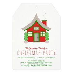 Cute Red and Green Cottage Christmas Party Custom Holiday Party Invitations #invites #invitation