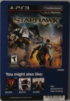 BACKER CARD FOR STARHAWK  PS3  Not The Video Game -- Find out more about the great product at the image link. Note:It is Affiliate Link to Amazon.