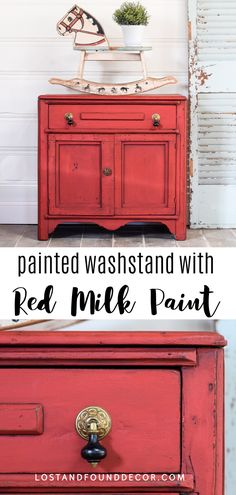 Red Milk Paint is the perfect choice to add a pop of color to this old washstand. Follow along with this fun makeover and learn more about milk paint! #milkpaint #redpaintedfurniture Red Painted Furniture, Milk Paint Furniture, Repainting Furniture, Diy Furniture Projects, Diy Furniture Plans, Cool Diy Projects, Furniture Makeover, Red Chalk Paint, Chalk Painting