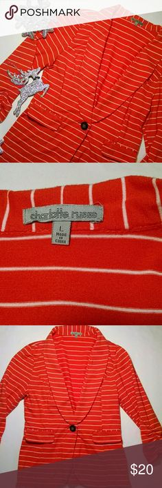 Charlotte Russe jacket Orange and white striped jacket, 3/4 length sleeves with rouching on the sleeves, pockets on the front. Polyester/rayon/spandex. Excellent condition. Junior sz large Charlotte Russe Jackets & Coats Blazers
