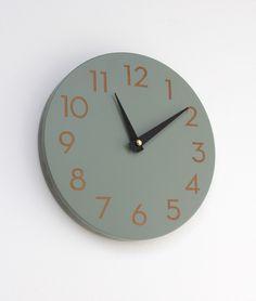 modern numbers clock ash grey. $65.00, via Etsy.
