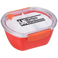 Lunch looks even more appetizing in this compact, fashion-conscious container! A spoon nestles in for added convenience.