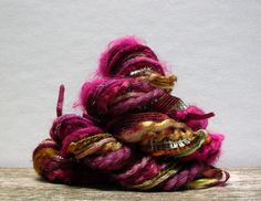 vineyard fringe effects . 20yds of specialty fibers art yarn bundle . plum wine burgundy gold olive green
