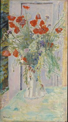 Pierre Bonnard (French, Fontenay-aux-Roses 1867–1947 Le Cannet) Poppies in a Vase. #artists #bonnard