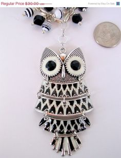 10 Off Articulated Owl Pendant  Adjustable by BEADEDNECKLACESHOPPE, $27.00#blackwhite jewelry, #metal glass necklace, #momgift
