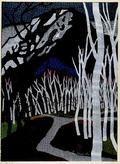 Mabuchi Thoru Road of Birch Trees, Shôwa period, dated 1960 woodcut