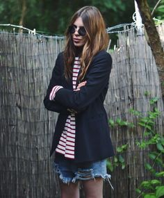 blazer, stripes + cut-off shorts #style #fashion