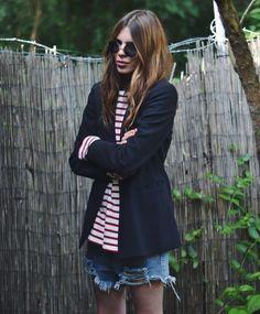 blazer, stripes + cut-off shorts #style #fashion