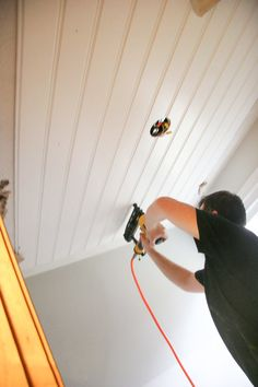 DIY Beadboard Ceiling Tutorial | Learn how to cover a dated, textured, and stained ceiling with a cottage style DIY beadboard ceiling for a custom look. Basement Bedrooms, Attic Bedrooms, Cabin Bedrooms, Mirror Bedroom, Diy Bedroom Decor, Home Decor, Master Closet, Master Bedroom, Kids Bedroom