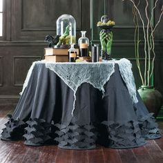 Halloween Table Sophisticated Applique Bats Tablecloth And Runner.
