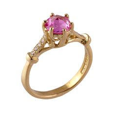 """Brides.com: Unique Engagement Ring Settings. Style R784, """"Kelsey"""" 18 karat yellow gold rose-cut pink sapphire and diamond ring, $4,500, Donna Distefano  See more round-cut engagement rings."""