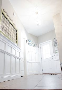 Board and Batten Entryway Design Entry Foyer, Front Entry, Family Office, Family Room, House Trim, Entry Way Design, Entrance Ways, Lambs Ear, Wainscoting