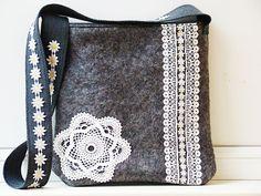 Handmade Medium Tote/ Felted wool & wool cloth by NataliyaMalik, $49.99