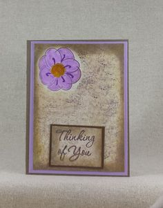Handmade Thinking of You Card with Purple by CedarStreetCardShop Handmade Greetings, Greeting Cards Handmade, Purple Flowers, Your Cards, Thinking Of You, Frame, Etsy, Decor, Thinking About You