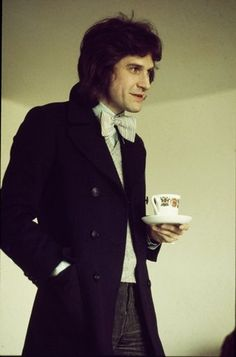 Ray Davies - in bow tie phase with cuppa tea.