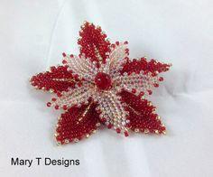 Beadwoven Flower Brooch .... EBWC November 2014 by MaryTDesigns