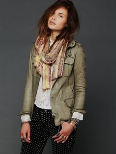 Free People Military Leather Jacket, $1198.00-OOh! a little pricey- guess I'll just be imitating that look.