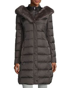 TQ8X4 T Tahari Felicity Faux-Fur Trim Puffer Coat, Gray