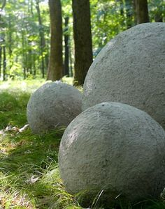 concrete balls in the woods DIY