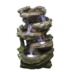 The Rock & Wood Falls has been crafted and coloured to look like rocks at the very top which then beautifully transitions into a wooden design further down. Indoor Water Fountains, Indoor Fountain, Rock Fountain, Rock Waterfall, Tabletop Fountain, Water Features In The Garden, Water Lighting, Landscape, Decoration