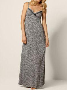 Batik Ditsy Floral Print Long Nightdress - Black Mix | Boux Avenue