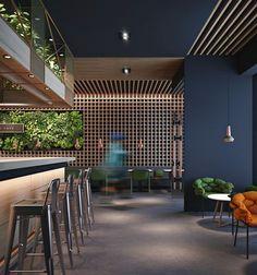 on behance public places interior envy restaurant desi Bar Design, Coffee Shop Design, House Design, Design Ideas, Restaurant Interior Design, Modern Interior Design, Interior Architecture, R Cafe, Cafe Bar