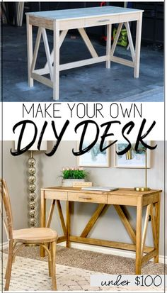 Master Bedroom Decorating Concepts - DIY Crown Molding Set Up Build This Diy Desk For Less Than 100 Using This Step By Step Tutorial With Printable Plans. This Desk Is The Perfect Addition To Your Home Office. Diy Furniture Easy, Diy Furniture Projects, Pallet Furniture, Kids Furniture, Office Furniture, Furniture Design, Garden Furniture, Barbie Furniture, Diy House Projects