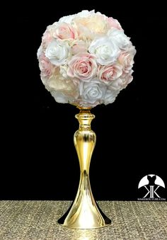 PINK BLUSH and IVORY Flower Ball with peonies and roses. Roses and Peonies Centerpiece. Fall Flower Girl, Flower Girl Bouquet, Fall Flowers, Flower Ball Centerpiece, Red Centerpieces, Mickey Centerpiece, Crown Centerpiece, Gold Wedding, Wedding Flowers
