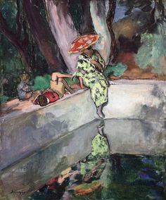 Le Pradet, femme et enfants au bord d'un bassin 1923Henri Lebasque, 1865-1937 oil on canvas 65 x 54cm