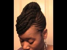 Braided updo on kinky natural hair (#24) - YouTube
