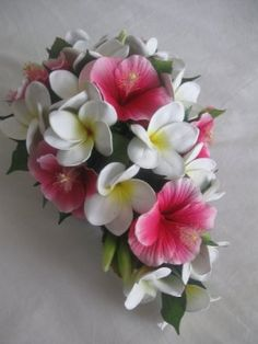 Plumeria Bouquet Bridal Bouquet Pink White By SilkFlowersByJean Re