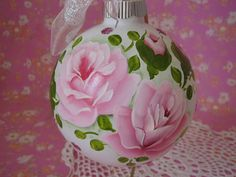 Ornament Large Hand Painted Glass Cottage Chic Pink Roses, Victorian ...