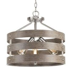 Gulliver 17 in. Brushed Nickel Convertible Semi-Flush Mount with Weathered Gray Wood Accents. bands wrap together to create an open design. Brushed nickel finish with weathered gray wood accents. Brushed Nickel, Polished Nickel, Nickel Finish, Ceiling Fan Makeover, Grey Wood, Gray, Rustic Chandelier, Chandeliers, Progress Lighting