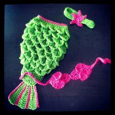 Newborn Crochet Mermaid Tail  Bright Green by AlishaMayCreations, $49.95