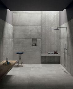 26 Neutral Interior Design To Inspire Your Ego - Home Decor Ideas Concrete Bathroom, Concrete Tiles, Tile Wood, Bad Inspiration, Bathroom Inspiration, Minimalist Bathroom, Modern Bathroom, Casa Loft, Dark Bathrooms