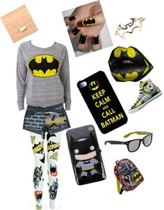 """batman :)"" by kaylin-lechner ❤ liked on Polyvore"