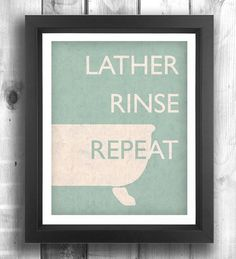 Quote print poster, bathroom art, retro poster, digital print, wall sign, laundry room, wall decor, bathroom poster, teal - 5x7 - Poster via Etsy