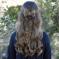 Mixed Braid & Hair Bow on myself inspired by @cutegirlshairstyles  #CGHHalfUpBowCombo