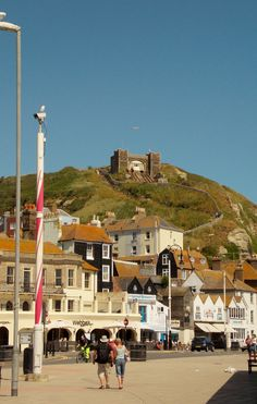 The seaside town of Hastings in East Sussex, England, with the Funicular Railway in the distance. By B Lowe